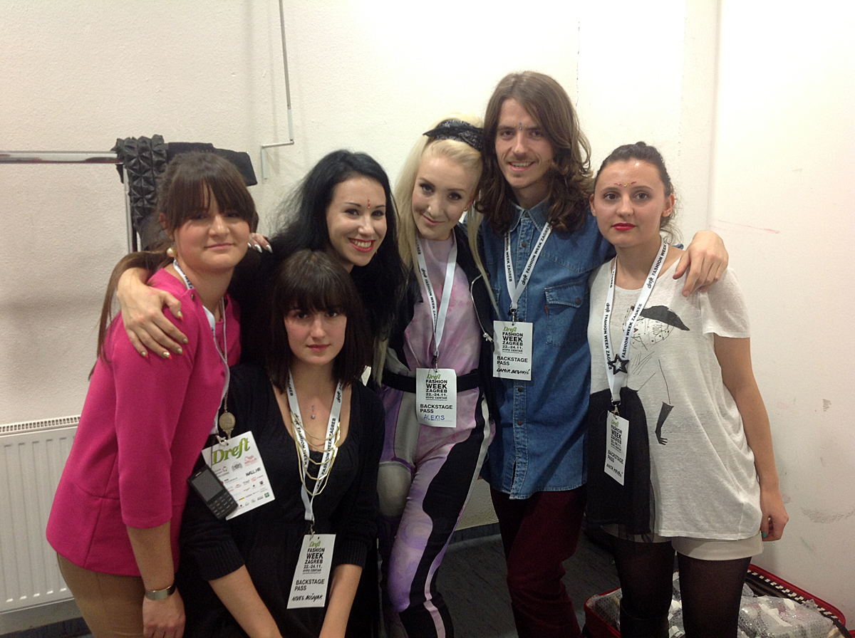 Ada Zanditon, stylist Alexis Knox and dressers backstage in Zagreb