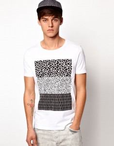 ASOS T-Shirt With Pocket And Monochrome Print