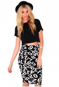 Lemma Number Print Midi Skirt